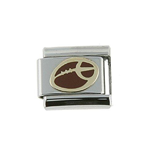 Stainless Steel 18k Gold Football Charm for Italian Charm Bracelets