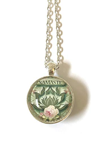 Handcrafted 2-Sided Reversible Silver-Plate Gray Pink Water Lotus Meditate Namaste Glass Cabachon Pendant Necklace