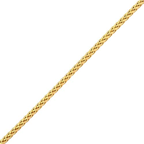 (LoveBling 10K Yellow Gold Wheat, Palm Chain Bracelet with Lobster Lock (3mm, 7.5
