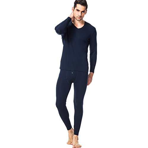 SANQIANG Men's 2pc Thermal Underwear Modal Long Johns Sets Warm Top and Bottom (2XL=US L, Navy Blue)