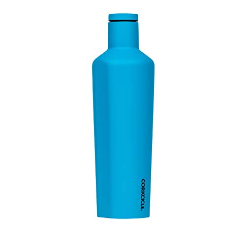 Corkcicle Canteen Neon Lights Collection - Water Bottle & Thermos - Triple Insulated Shatterproof Stainless Steel, Neon Blue, 25oz