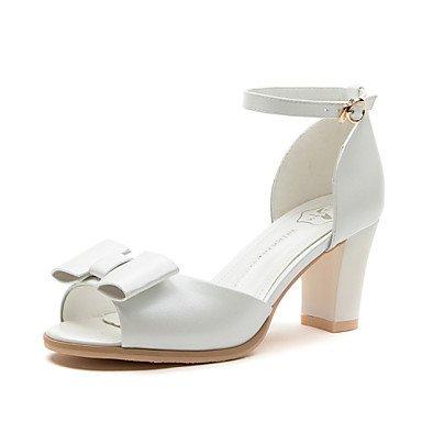 FYios Zapatos de mujer Synthetic Chunky talón peep toe sandalias boda/Office &Amp; Carrera/parte &Amp; Noche/vestimenta casual/Blanco/Plata US8 / EU39 / UK6 / CN39