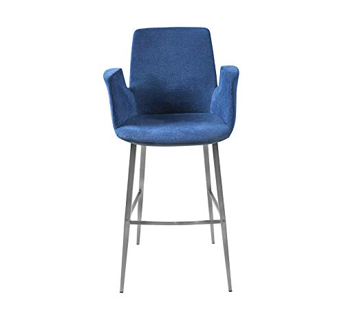 (Wood & Style Furniture Archer-B Bar Stool Blue/Brushed Stainless Steel Home Bar Pub Café Office Commercial )