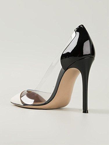 Eldof Pumps Heel PVC Stilettos PVC 10cm Shoes Black Dress Pointed High Event Pumps White Toe Cap Womens Transparent Wedding rZRwWrqxAg