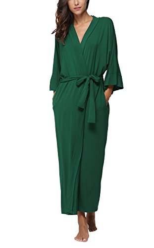 Dress Liquid Jersey - FADSHOW Women's Soft Long Sleepwear Modal Cotton Wrap Robe Bathrobe Nightgown Green