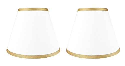 Inch Trims 5 White (Urbanest Set of 2 Coolie Hardback Lampshade, Faux Silk, 5-inch by 9-inch by 7-inch, Off White with Gold Trim, Spider Washer Fitter)