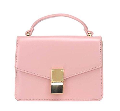 Bolsa Retro Bandolera Mujer Paquete Diagonal Paquete Cuadrado Pequeño Color Sólido Salvaje Bolsos De La PU Pink