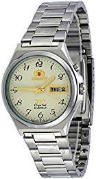 Orient #FEM5M014C Reloj automático de 3 estrellas de acero inoxidable con números de color beige y dial de día y fecha para hombre