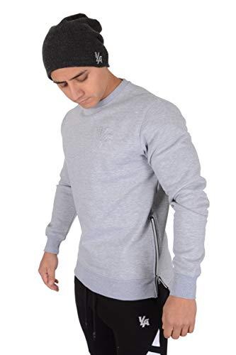 (YoungLA Crewneck Sweatshirt Sweaters Men Pullover Side Zipper 517 HetGry S Heather Grey)
