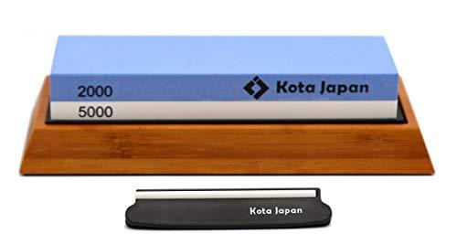 Kota Japan Combination Dual Sided 2000-5000 Grit Diamond Knife Sharpener Whetstone Set for Coarse Sharpening & Fine Polishing. Water Stone Kit | Adjustable Bamboo Holder Base | Precision Blade Guide