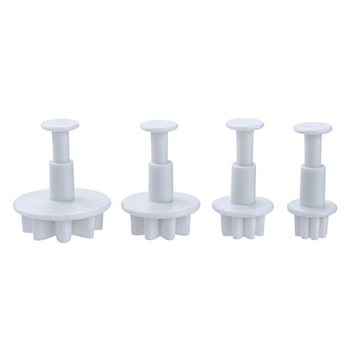 Kanzd 4Pcs Flower Plunger Cookie Cutter Biscuit Cake Decorating Baking Mould Mold Tool (A)