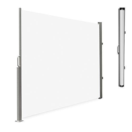 [neu.haus] Seitenmarkise Weiß 180x300cm - Sonnenschutz / Sichtschutz / Windschutz für Terrasse & Garten - Seitenwand-Markise hochwertig, strapazierfähig, wasserabweisend