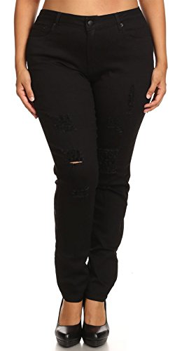 ada828ada24 lovely Women s Plus Size Jeans Mid Rise Skinny Full Length Destroyed Ripped  Distressed Stretch Denim Pants