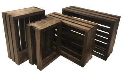 (Mowoodwork Vintage Stained-Rustic Wood Crates Set of)