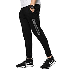 ZEYO Men's Stylish Black Strip Joggers Track Pants for Sports Gym Athletic Training Workout
