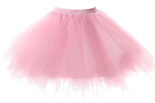Poplarboy Women's Mini Colorful Ballet Petticoat Skirt Tulle Rainbow Multi Layer Prom Evening Skirts Pink