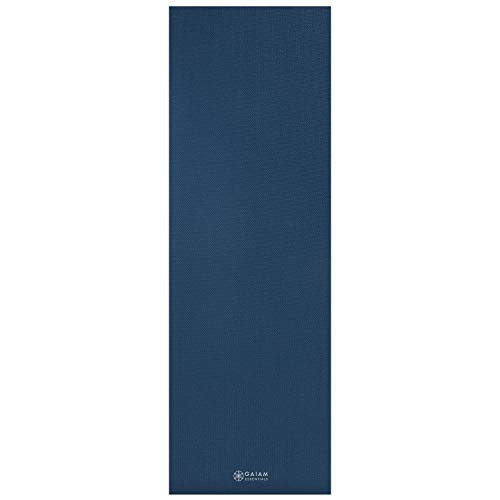 """Gaiam Essentials Premium Yoga Mat with Yoga Mat Carrier Sling, Navy, 72""""L x 24""""W x 1/4 Inch Thick"""