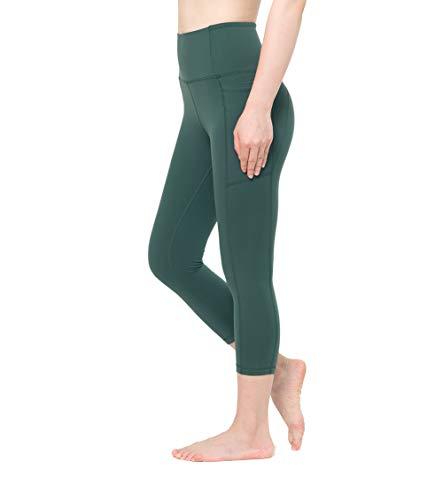 Fantasfit High Waist Yoga Pants with Pockets for Women Squat Proof Workout Leggings Tummy Control Trouser (L, Capri - Basil)