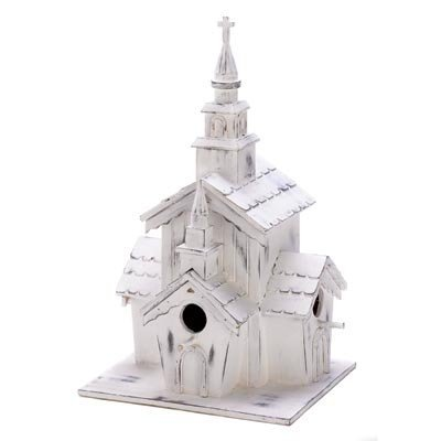 (Smart Living Koehler Decorative Little Heavenly White Wooden Welcome Chapel Church Hanging Garden Birdhouse)