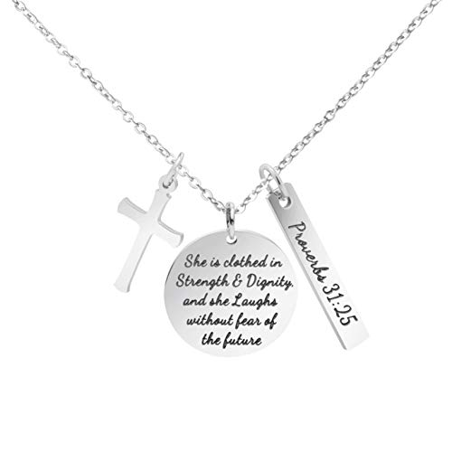 - MEMGIFT Christian Necklace Stainless Steel Cross Pendant Jewelry for Women She is Clothed in Strength and Dignity and She Laughs Without Fears of The Future