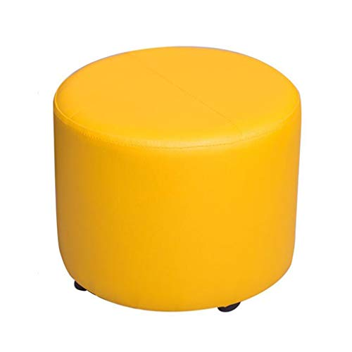 PU Upholstered Footstool Small Ottoman Luxury Round Pouffe 4 Legs Change Shoe Stool Five Colour (Color : Yellow)