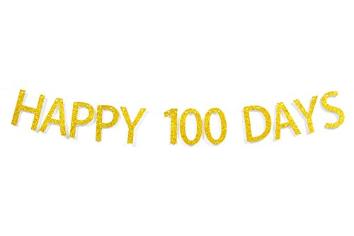 Firefairy Happy 100 Days Gold Glitter Banner Bunting-Baby Shower Party Decorations