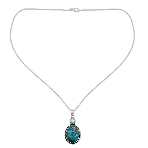 NOVICA Reconstituted Turquoise Cultured Freshwater Pearl Silver Pendant Necklace, 18