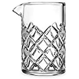 Cocktail Mixing Glass / Bar Mixing Glass, 18.5oz/550ml, Clear - Diamond Cut Pattern, Japanese Style [Lead Free]