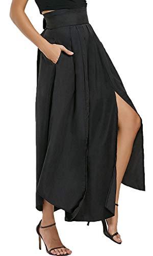Bodycon4U Women's High Slits Bow Tie Summer Beach High Waist Shirring Maxi Skirt Pockets Black M by Bodycon4U (Image #2)