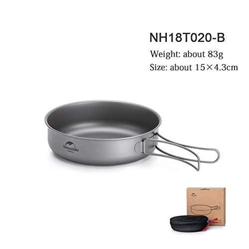 iBasingo Naturehike Titanium Frying Pan Plate with Folding Handle Outdoor Camping Cookware Flat Omelet Pan Bowl Travel Utensils Picnic Mess Kits