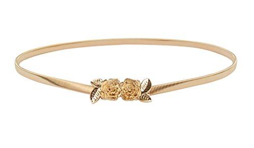 Dress Vintage Belt Buckle - E-Clover Vintage Women Gold Metal Skinny Elastic Rose Buckle Dress Waist Belt (Style1)