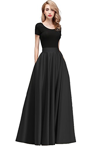 Honey Qiao Women's Satin Long Floor Length High Waist Fomal Prom Party Skirts with Pockets,Back Zipper Closure Black