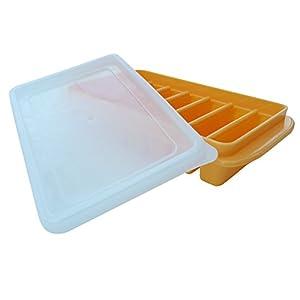 Polar Vortex Mini Ice Cube Trays + Lids - Water Bottles, Dorm Fridge, RVs - No Spill Cover - Stackable (Orange)