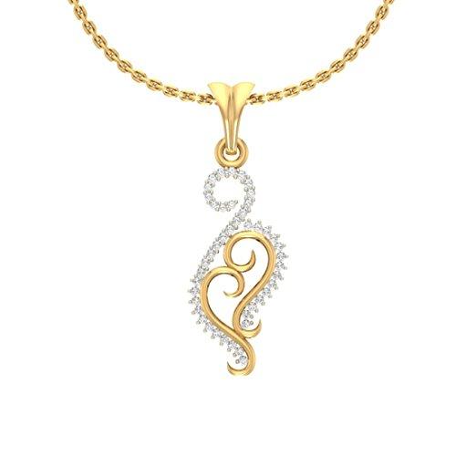 Or jaune 18K 0,2CT TW Round-cut-diamond (IJ | SI) diamant Pendentif