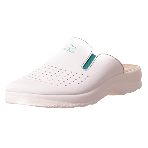 Fly Flot - Zapatillas de estar por casa de Piel para hombre blanco Bianco
