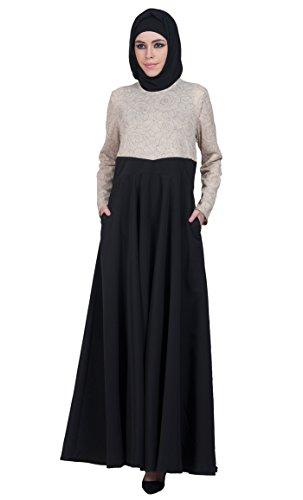 amp; Beige Longues Black Solid East Essence Multicolore Femme Robe Manches xPwxBq1v8