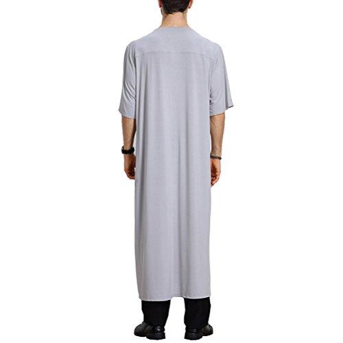 Zhhlinyuan Vestido árabe Mens Muslim Thobe Dishdasha Half Sleeve Robe Long  Tops Shirt Arabic Dress Middle 1b4219b2e0e4