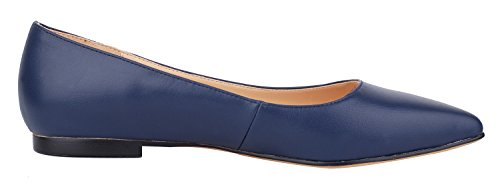 queenfoot Pump6002 - Mocasines de Piel para mujer A-Navy leather