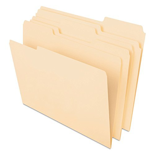 Pendaflex 48420 CutLess File Folders, 1/3 Cut Top Tab, Letter, Manila, 100/Box