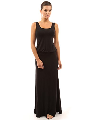 PattyBoutik Women Sleeveless Blouson Maxi Dress (Black Medium)