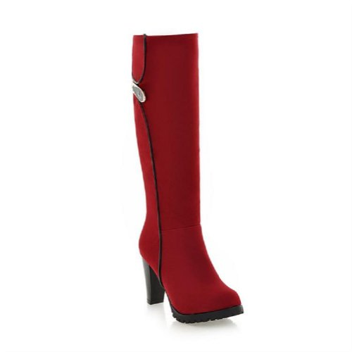 Charm Foot Vintage Womens Platform High Heel Knee High Riding Boots Red NTVOL