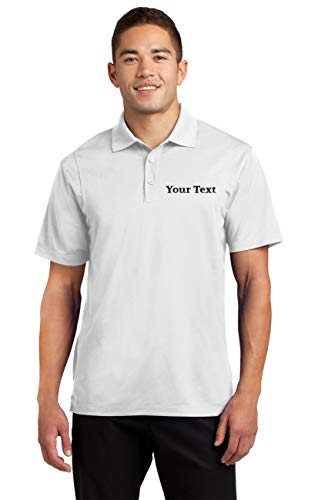Custom Embroidered Moisture Wicking Performance Polo - Embroidery Collar Shirts White ()