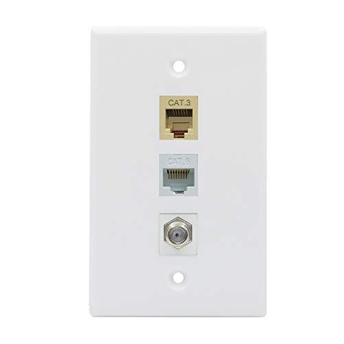BUPLDET Ethernet Coax Phone Wall Plate - 1 Port Cat6 RJ45 Jack + 1 Port Phone RJ11/RJ12 Beige + 1 Port Coax Cable TV- F-Type (Coax Phone Wall Plate)