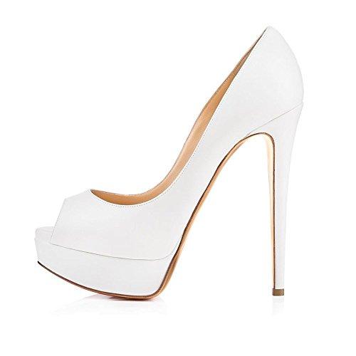 uBeauty - Femme Sandales Plateforme - Grande Taille Chaussures Open Toe - Escarpins Peep Toe Blanc yfBMjj