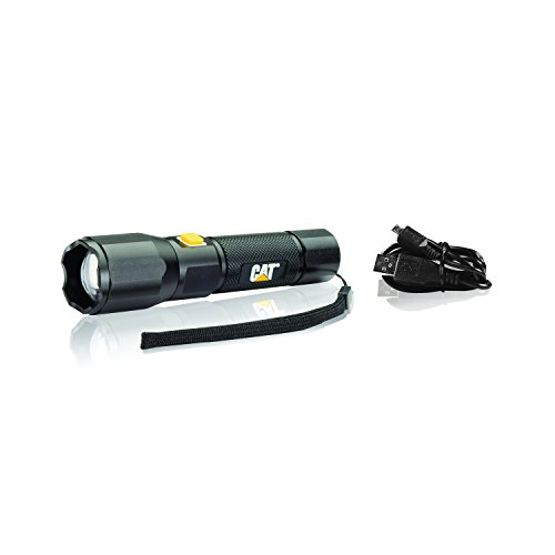 Cat CT2405 Rechargeable Aluminum Focusing Tactical Light – 420 Lumen LED 3-Mode Focusing Beam Flashlight, Black/Yellow -  E-Z Red
