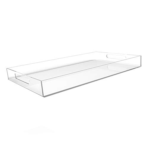 """CLEAR SERVING TRAY - Spill Proof - 20"""" Large Premium Acrylic Tray for Coffee Table, Breakfast, Tea, Food, Butler - Decorative Display, Countertop, Kitchen, Vanity Serve Tray with Handles by Vale Arbor"""