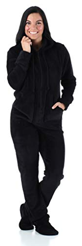 SleepytimePjs Women's Sleepwear Fleece Hooded Footed Onesie Pajamas Black - (ST17-W-1011-MED) ()