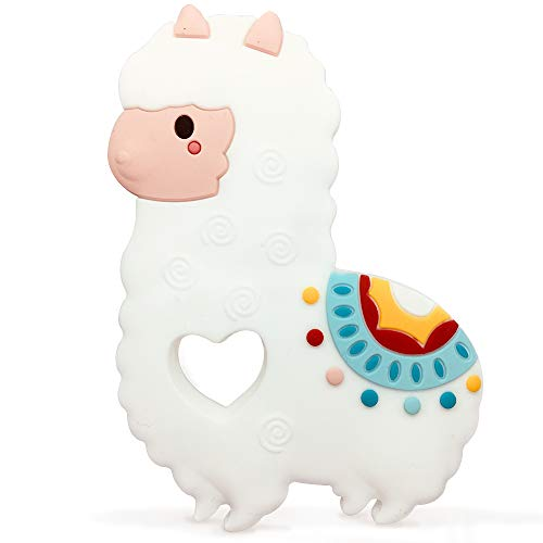 White Llama Silicone Teether Safe Food Grade Silicone Non-Toxic Baby Teething Toy (Llama)