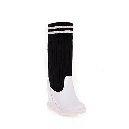 BalaMasa Womens Pull-on Round-Toe Solid Casual Viscose-Rayon Boots White