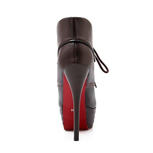 Bandage Ornament Darkbrown Womens Stiletto Leather BalaMasa Imitated Metal Boots Zq4nvnxt